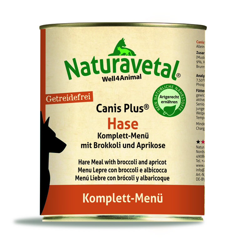 Naturavetal® Canis Plus Komplettmenü HASE 820g - getreidefrei