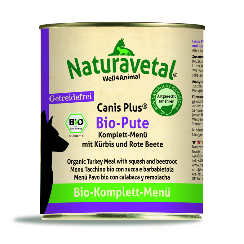 Naturavetal® Canis Plus Komplettmenü BIO PUTE 820g - getreidefrei